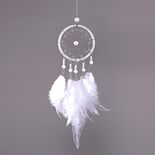 Mini White Dream Catcher For Car Rear View Mirror Accessories Beaded Feathers And Handmade Weave Web Come With Kraft Gift Bag Boho Chic Hanging Ornaments Girl's Bedroom Nursery Teepee Wall Decor