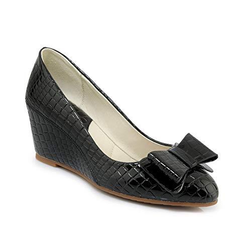 APL10861 Shoes Style BalaMasa Casual Baguette Pumps Womens Urethane Black Bows pnqHgR