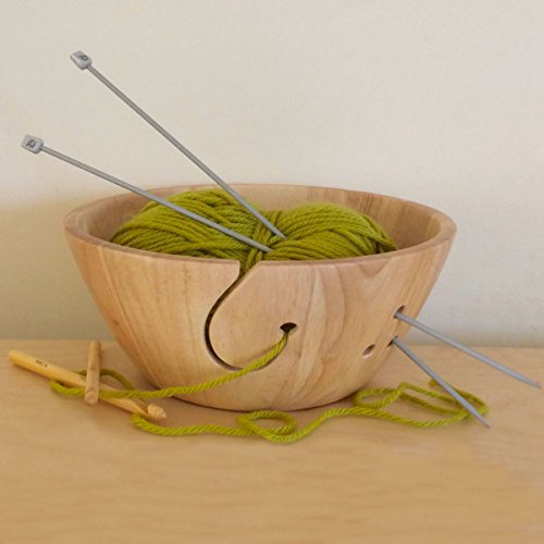 Wooden Yarn Bowl - 10'' x 4'' - Handmade, Strong, Portable, Beautiful || Extra Large || Perfect for Knitting & Crocheting by WoodyUSA