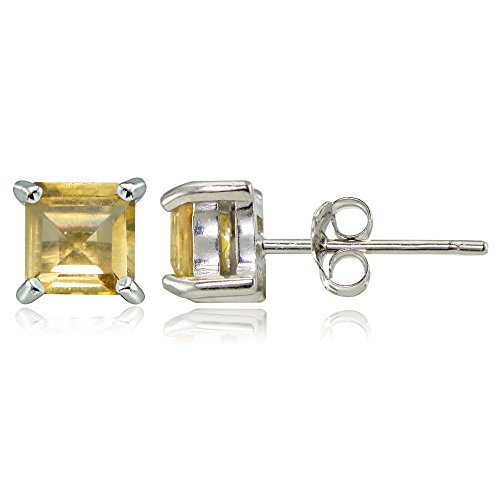 Sterling Silver Citrine 5mm Square Stud Earrings