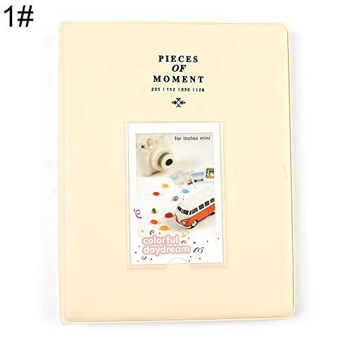 Gftablks 128 Pockets Photo Album, 3 inch Memory Storage Photo Albums, PVC Picture Holder for Weddings, Engagements, Graduations, Guestbook, Baby Photos, Memories - Beige
