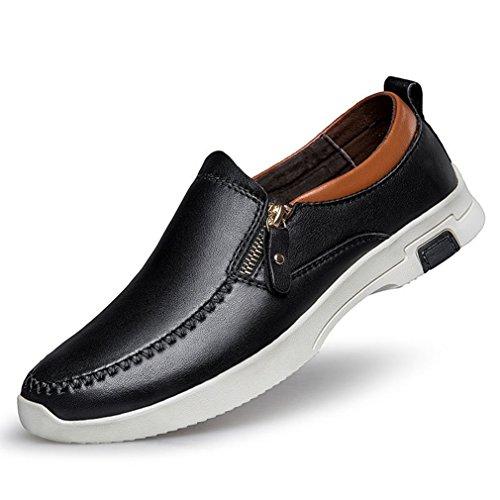 07b047b06065 Loisir Hommes Taille Business Plate Grand Fermeture Commercial Cuir  Mocassins Derby Légères Noir Feidaeu Chaussures Eclair Hxdq7n8