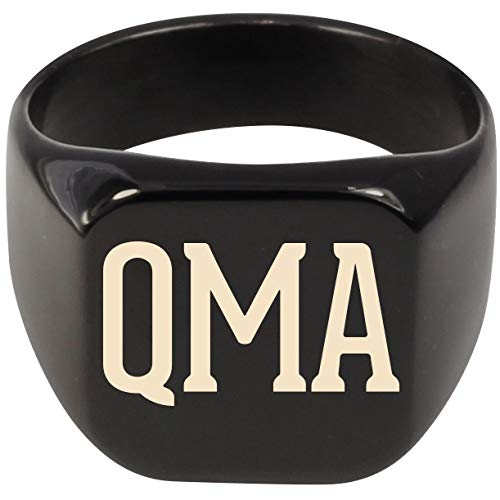 Molandra Products QMA - Adult Initials Stainless Steel Ring, Black, 8 -  US-C-07-19-15-011821-08-91-02-35