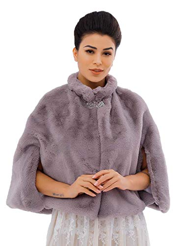 Asooll Women's Faux Fur Shawl 1920s Bride Wedding Fur Capes Stoles Winter Cover Up