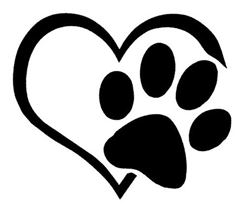 Hestio Pet Paw Print With Heart Dog Cat Vinyl Decal Car Window Bumper Sticker