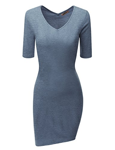 Doublju Women Comfortable Short Sleeve V-neck Big Size Dress HEATHERBLUE,3XL