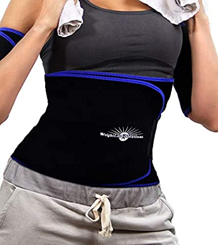 5773b13a1f Amazon.com  WeightLoss-Solutions Deluxe Waist Trimmer Belt for Men and  Women. Waist Slimming Sauna Belt to Burn Belly Fat. Lose Belly Fat and get  a Slimmer ...