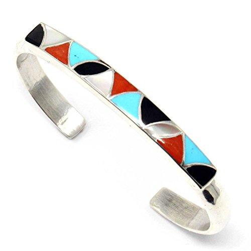 L7 Enterprises Zuni Silver & Turquoise Inlay Bracelets by the Kallestewas (Multi-color)
