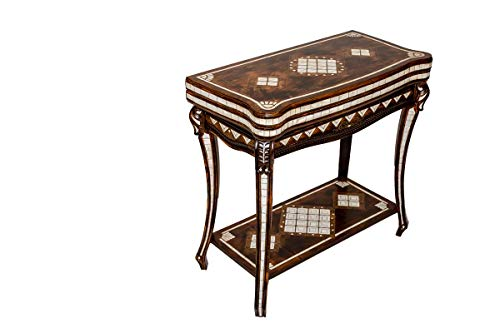 Helena wood art Mother of Pearl Inlaid Chess & Backgammon Table