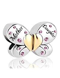 Mother Daughter Charm Butterfly Charm Red Crystal Spacer Bead For Bracelets