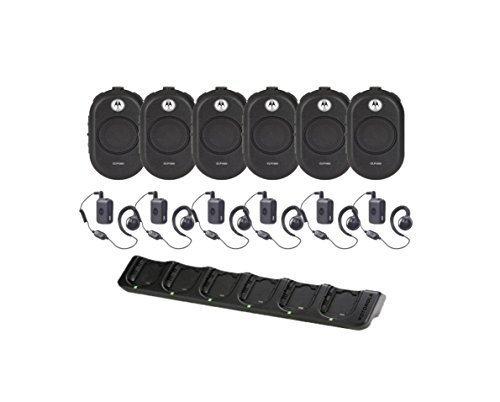 6 Motorola CLP1060 Business Two-Way Radios w/ Bluetooth Headsets and 6-Unit Charger