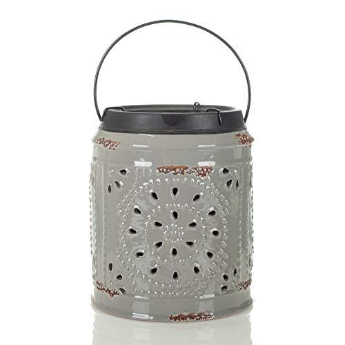 Glossy Gray Pressed Tin Style 7 x 5 Ceramic Tabletop Lantern