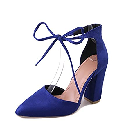 Womens High Heel Pumps Shoes, Chunky Heels & Crossover Ankle Strap Suede Heeled Sandals For Women US 9 B(M)/41 - Blue Suede Pump Shoes