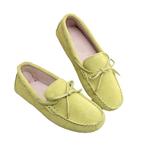 Lucky Exclusive Women's Classic Suede Penny Loafers Comfort Handmade Slipper Moccasins Lime ()