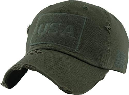 BHM-205-USA-33 Mens Baseball Cap - USA - Olive ()