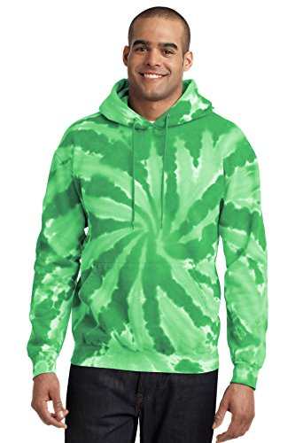 Port & Company Men's Essential Tie Dye Pullover Hooded Sweatshirt L Kelly