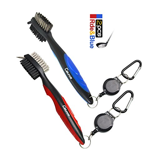 Calunce Golf Brush and Divot Groove Spike Tool 2 Fit Retravtable Zip-line Aluminum Carabiner ,Easily Attaches to Golf Bag (red+blue)