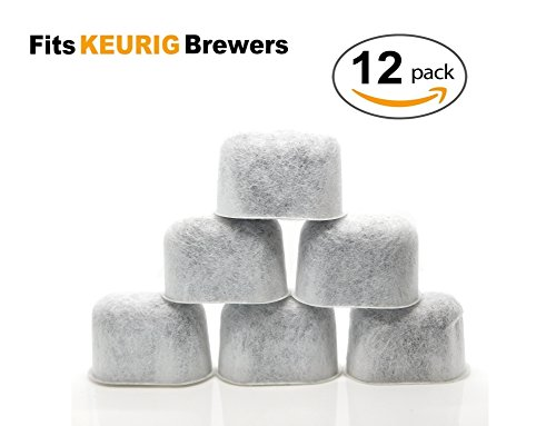 12 Pack Keurig Compatible Charcoal Water Filter Replacement for KUERIG Coffee Makers Universal (NOT CUISINART) - Fits Keurig 2.0 and older Coffee Machines - Purifies and Improve Taste by ElloGreen
