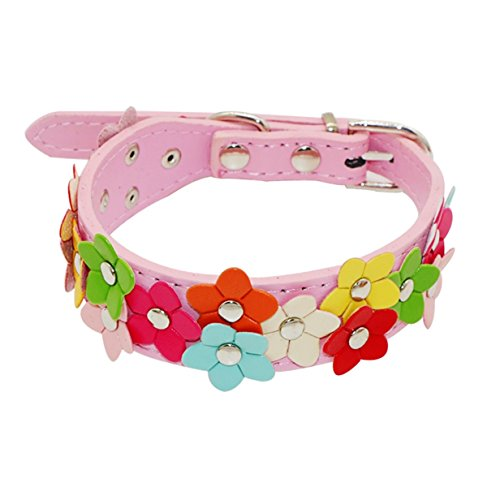 1 Set PU Leather Dog Collar Small Dogs Puppy Pet Buckle Leash Soft Elastic Bow Bell Tag Flower Premium Popular Extra Large Wide Reflective Safety Breakaway Training Camo Kitten Collars, Type-02