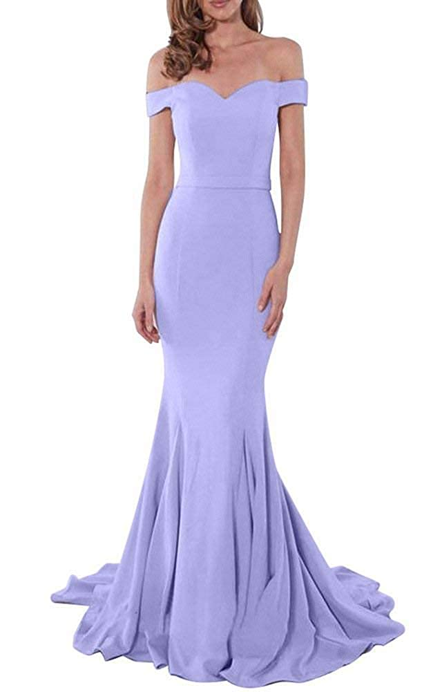 MKbridal Womens Off The Shoulder Mermaid Bridesmaid Dresses Long Formal Evening Party Dress for Guest