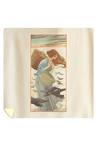 The Four Seasons Vintage Poster (artist: Riquer) Spain c. 1900 (88x88 Queen Microfiber Duvet Cover) by Lantern Press