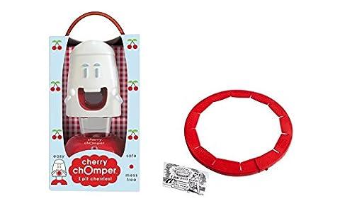 Talisman Designs, Cherry Chomper Cherry Pitter with Adjustable Pie Crust Shield BPA-free Silcone, Red