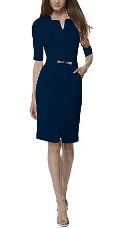 KOJOOIN Vestido de Negocios Vestido de Negocios Vestido hasta la Rodilla Mangas 3//4 con Cuello en V y cintur/ón