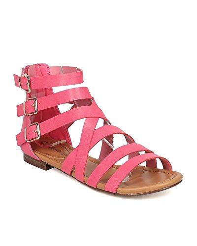 Breckelles Womens Covina-24 Gladiator Strappy Platte Sandalen Roze