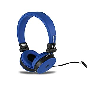 Polaroid PHP8660BL Neon Headphones with Mic, Foldable, Tangle-Proof, Compatible with All Devices, Blue