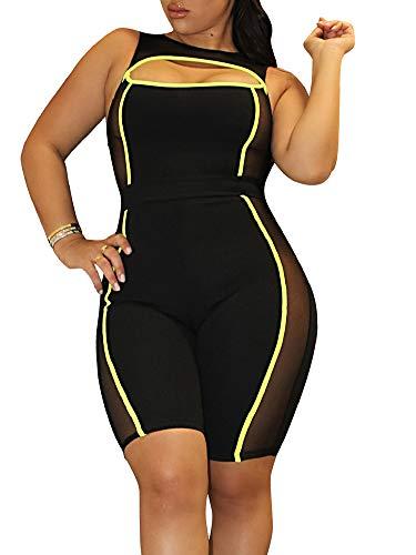 Ramoug Women Plus Size Summer Mesh Sleeveless Bodycon Short Jumpsuit Beachwear XXL Yellow -