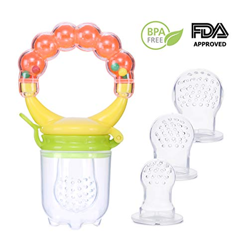 Baby Food Feeder Teething Pacifier With 2 Different Size Silicone Teats,Fresh Fruit Feeder ,For 3 Months+ baby,Infant Teething Toy Teether