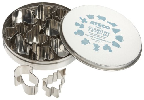 Country Cutter - Ateco 4850 Plain Edge Country Life Cutters in Assorted Shapes, Stainless Steel, 12 Pc Set