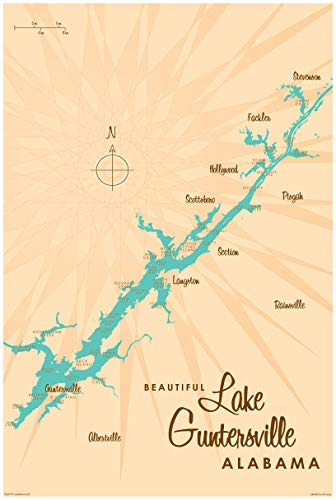 Lake Guntersville Alabama Vintage-Style Map Art Print Poster by Lakebound (24