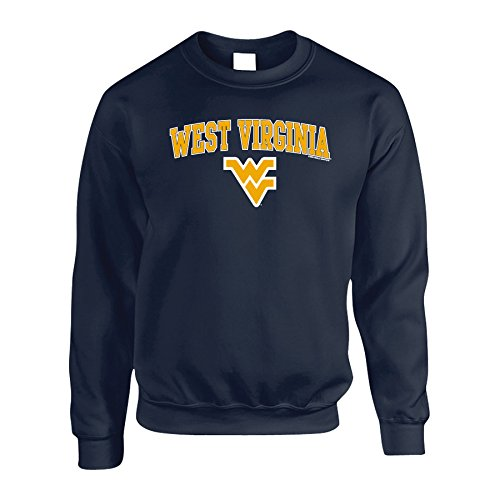 Elite Fan Shop WVU West Virginia Mountaineers Crewneck Sweatshirt Arch Navy - L