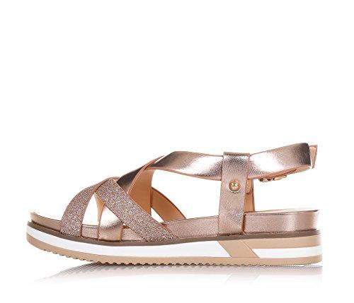 LIU JO - Kupferfarbene Sandale aus Leder und Glitzern, seitlich ein Schnallenverschluss, auf der Vorderseite, Mädchen, Damen