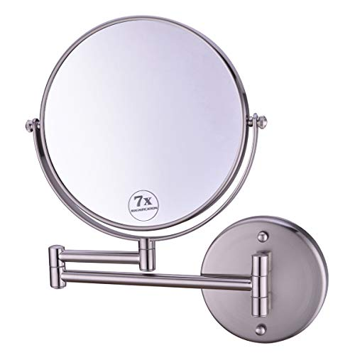 Anpean Wall Mounted Makeup Mirror 7X Magnification with 8 Inch Two Sided - Mirrors Matte Bathroom Black Pull Out
