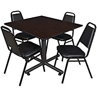 Regency Kobe 48-Inch Square Breakroom Table, Mocha Walnut, and 4 Restaurant Stack Chairs, Black