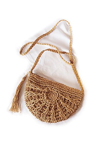 Woven Bag Body Straw Cross Shoulder Womens Magone Bag Summer Beach Brown Portable wS50t