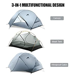 KH3S 1-2 People 3 Season Double Layer Outdoor Tent Weathering Camping (2)