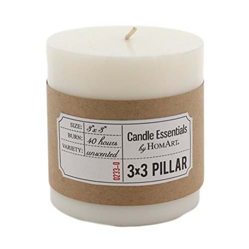 Set 3 Fat Ivory Pillar Candles | 3 x 3 White Wax (White Palm Wax Pillar)
