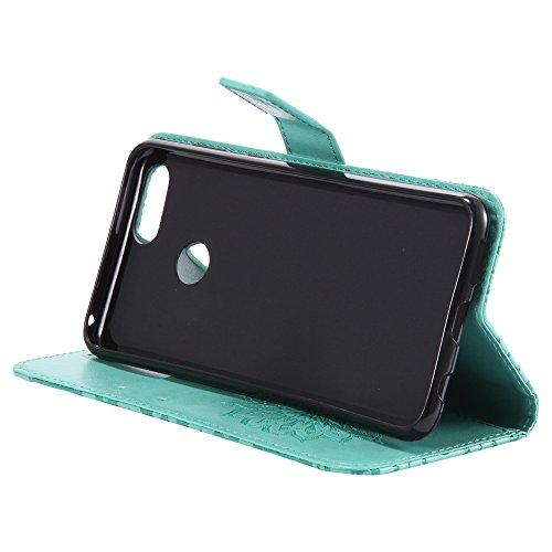 YAJIE-Carcasa Funda Para Huawei Honor 7X Sun Flower Diseño de impresión PU cuero Flip Wallet Lanyard funda protectora con ranura para tarjeta de soporte ( Color : Red ) Green