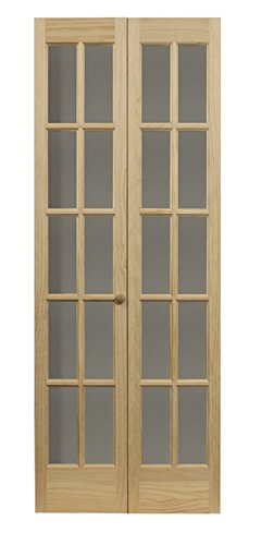 Pinecroft 852730 Traditional Divided Glass French Bifold Intior Wood Door, 36'' x 80'' Unfinished by LTL Home Products