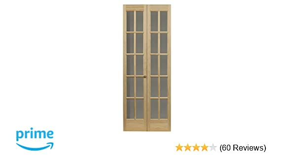 Pinecroft 852720 Traditional Divided Glass French Bifold Intior Wood Door 24 X 80 Unfinished