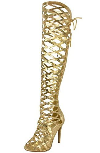 Al Stivali Alto Up 5 15 Ginocchio Oro Lace Ci Womens Tacco Sandali Strappy Tagliato Gladiatore Aiweiyi YwI1W