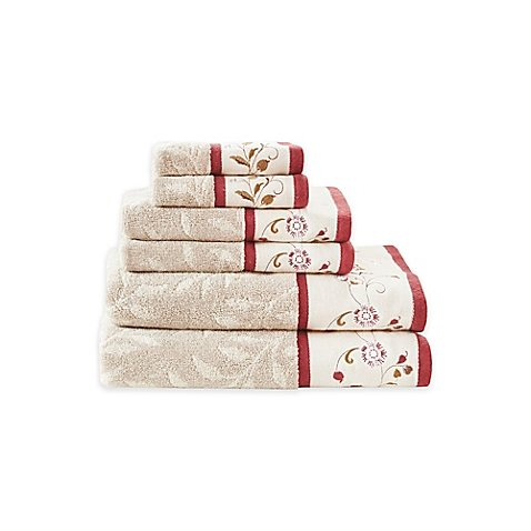 Madison Park Serene Cotton Jacquard Bath Towels in Red (Set of 6) by Madison Park