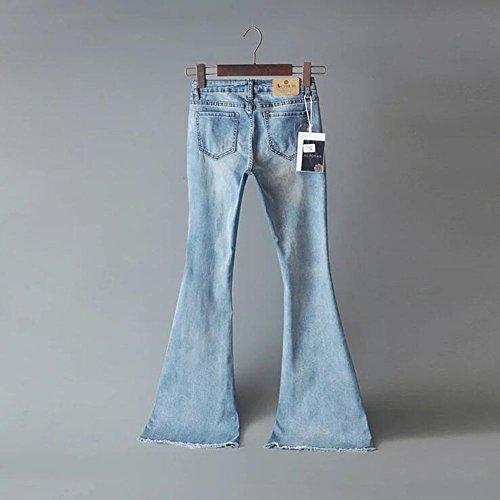 Mode Dames Hellomiko Haute Retro Slim mi vass Hauteur Zip Dcontract Clair Denim lastiques Bleu ZtZwq