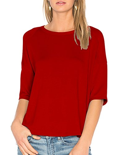 ALLY-MAGIC Womens Cotton T-Shirt 3/4 Sleeves Casual Loose Top Blouse C4722 (L, Wine Red) ()