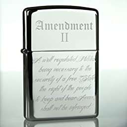 Zippo Lighter 2nd Amendment NRA Classic Chrome