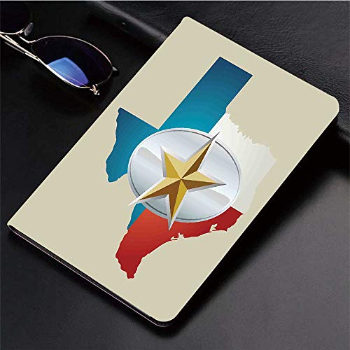 Compatible with 3D Printed iPad 9.7 Case,Cowboy Belt Buckle Star Design with Texas Map Southwestern Par,Lightweight Anti-Scratch Shell Auto Sleep/Wake, Back Protector Cover iPad 9.7