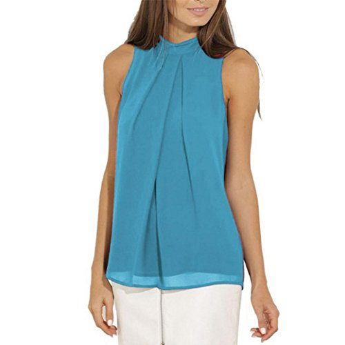 iQKA Women Plus Size Sleeveless Turtleneck Chiffon Solid Vest T Shirt Loose Tank TopSky BlueXXX-Large